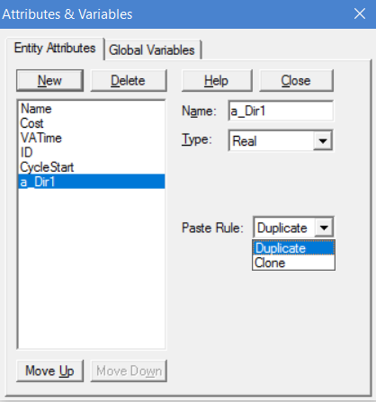 attributes and variables window in processmodel