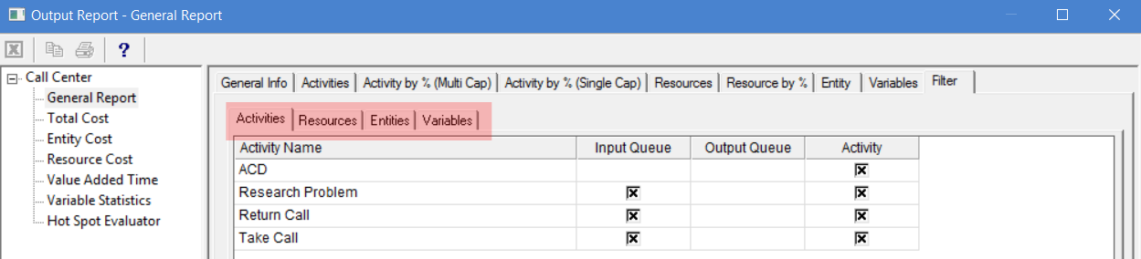 Filter tab in output report of ProcessModel