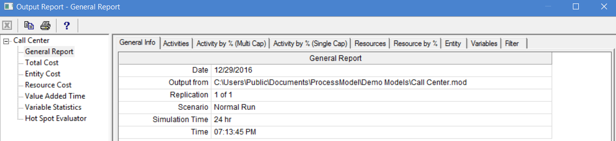 General tab in output report of ProcessModel