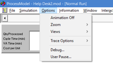 options menu during simulation in processmodel