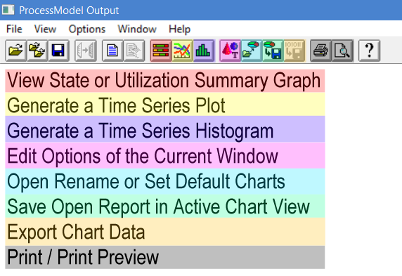 Output detail report toolbar