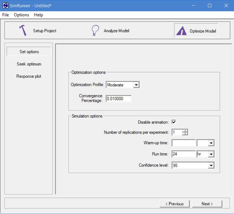 Set options for optimization in simrunner