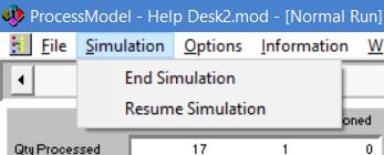 simulaiton menu during simulation in processmodel