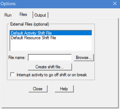 simulation menu files tab in processmodel