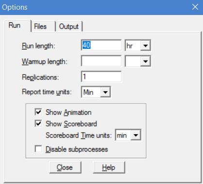 simulation menu of processmodel