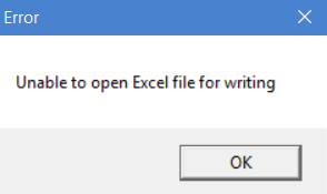 Unable to open Excel for writing