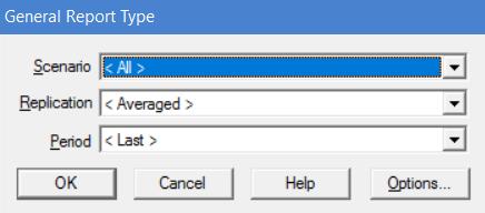 general report type selection window