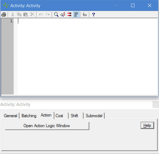 Properties dialog activity action ProcessModel software