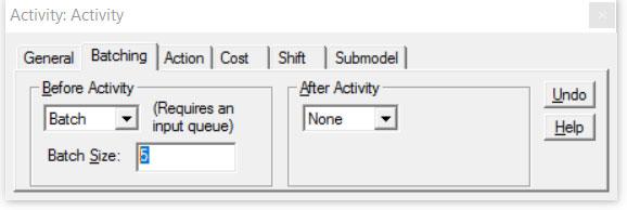 Properties dialog activity batching ProcessModel software