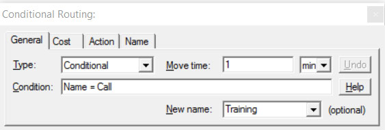 Properties dialog entity routing conditional route ProcessModel software