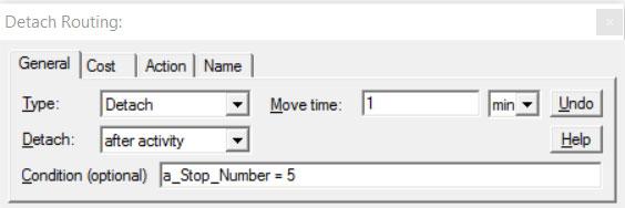Properties dialog entity routing detach ProcessModel software