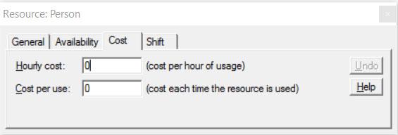 Properties dialog resource cost ProcessModel software