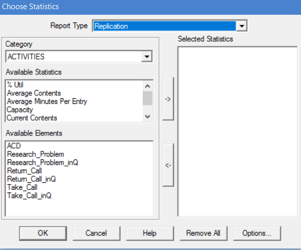 Selected Statistics Window