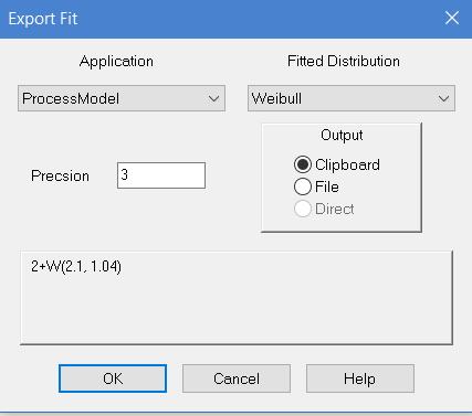 Stat::Fit Export Distribution Window
