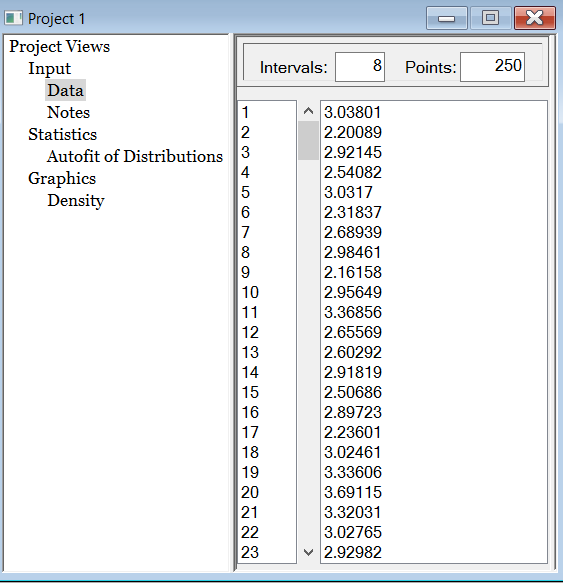 Stat::Fit Window with Data Pasted