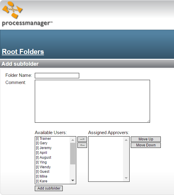 assigning approvers to root folder