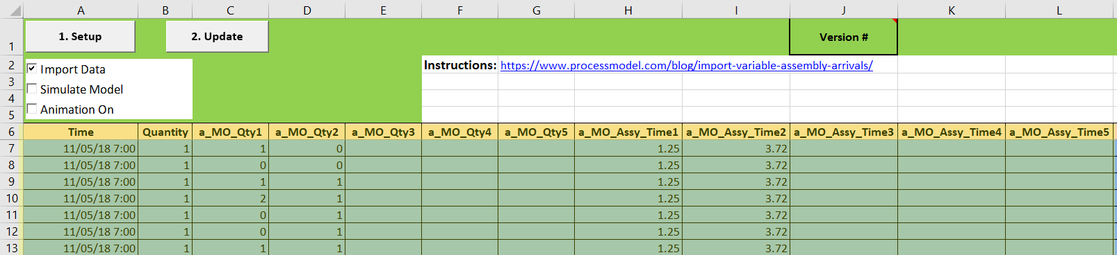 Import Variable Assembly Arrivals raw data