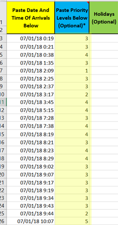 copy row data in b in Daily Pattern Arrivals
