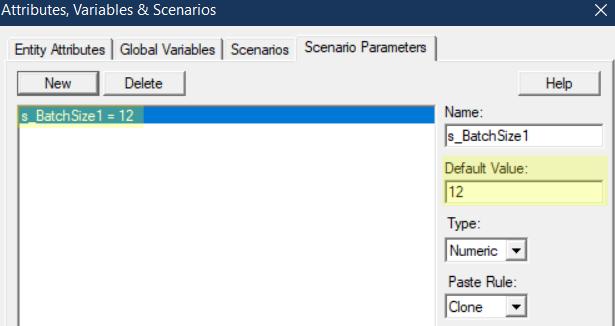 change scenario parameter Smaller qty