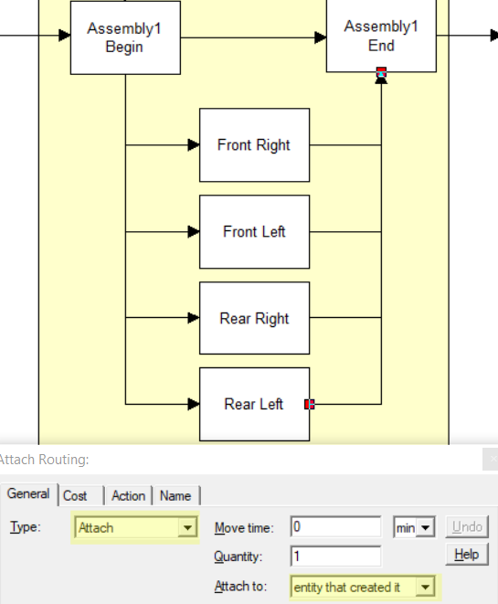 connecting back to assembly with attach route