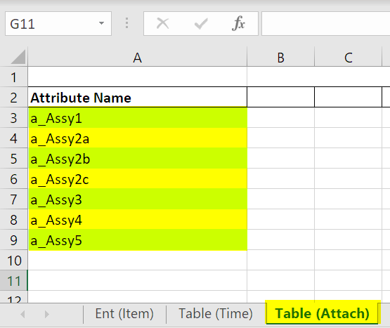 copy attributes to assembly table