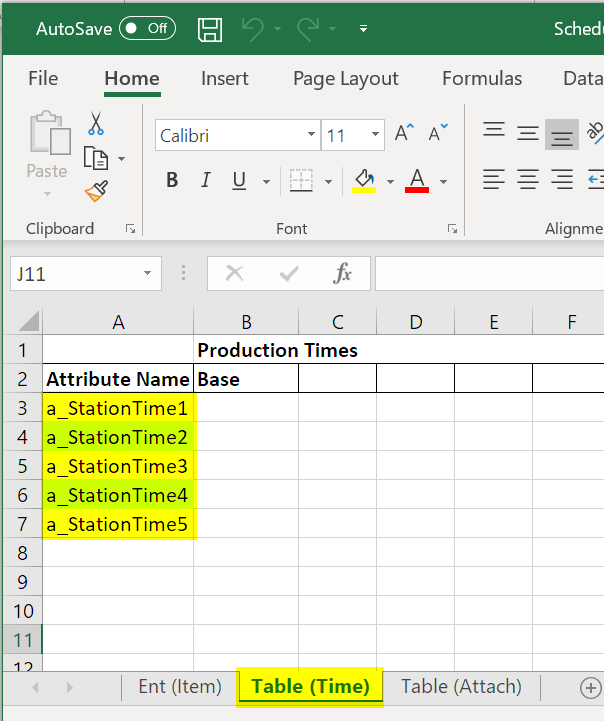 copy time attribute scheduled arrivals with table input