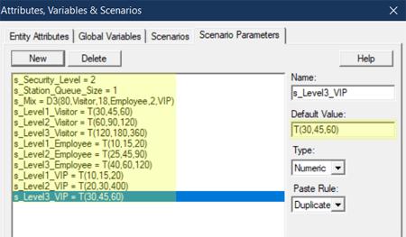 define scenario paramteres values in Security Car