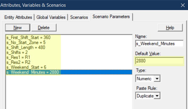 define scenario values in Release Entity to Next Shift