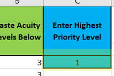 enter priority in c3 in Lab Arrivals with Priority